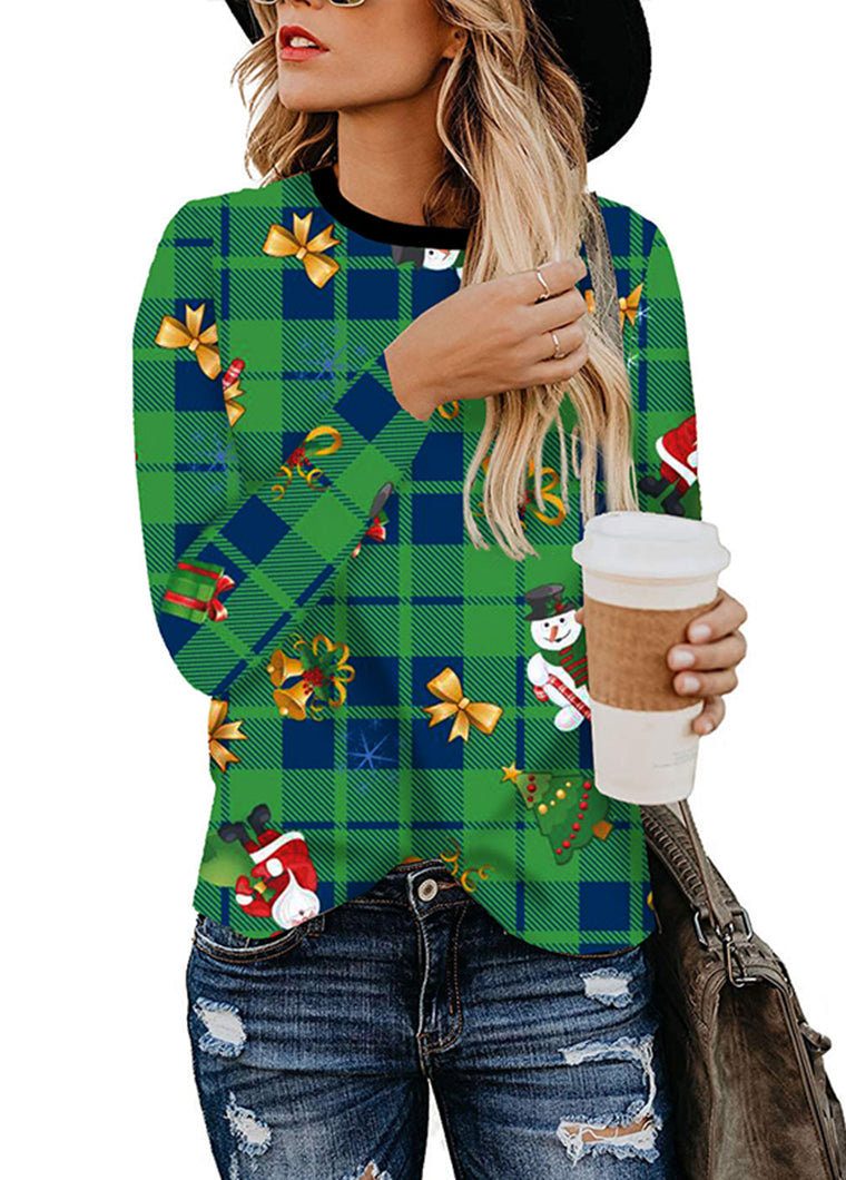 Christmas Plaid Printed Long Sleeve top - fashionyanclothes