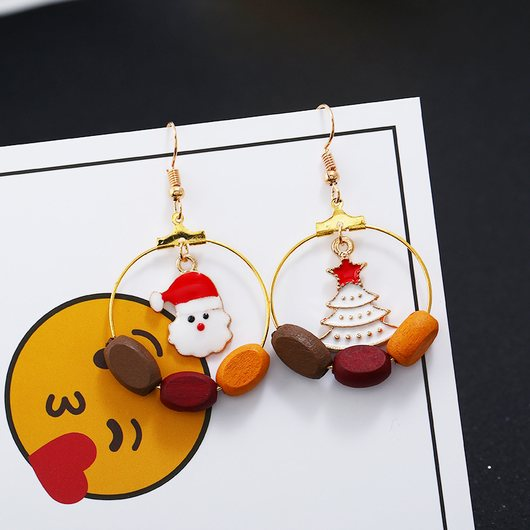 Santa and Christmas Tree Pendant Gold Metal Earrings