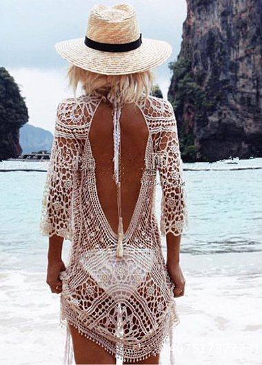 Hollowed Out Bikini Lace Crochet Blouse - fashionyanclothes