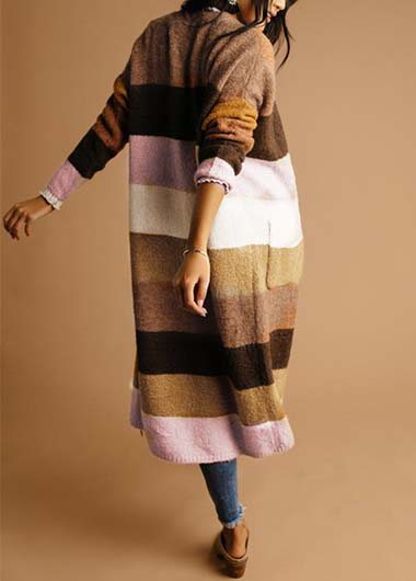 Plus Size Patchwork Pockets Cardigan