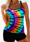 Multi Color Printed Cross Strap Tankini Set - fashionyanclothes