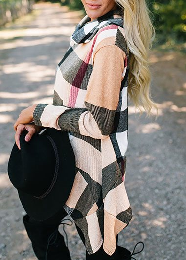 Plaid Print  Asymmetric Hem Blouse