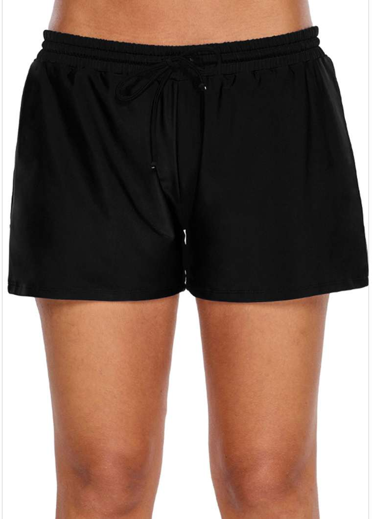Mid Waist Solid Black Swimwear Shorts - fashionyanclothes