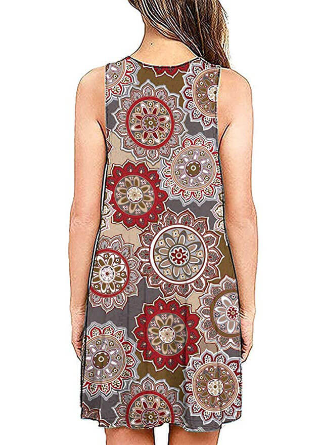 V Neck Print Sleeveless Pocket Dress - fashionyanclothes
