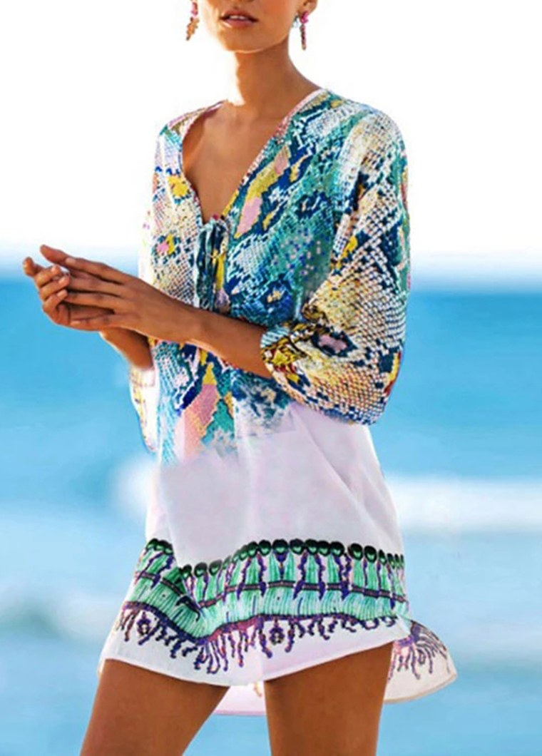Boho Floral Cover-Ups Beach Wear - fashionyanclothes