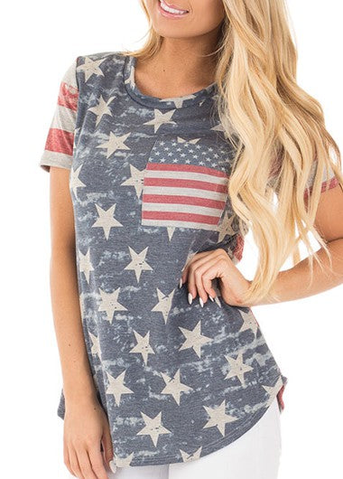 Flag Print curved Round Round Neck T Shirt - fashionyanclothes