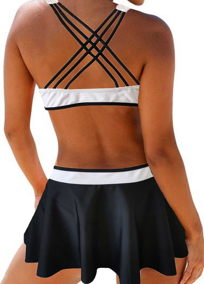 Strappy Back Color Block Padded Two Piece Swimwear - fashionyanclothes