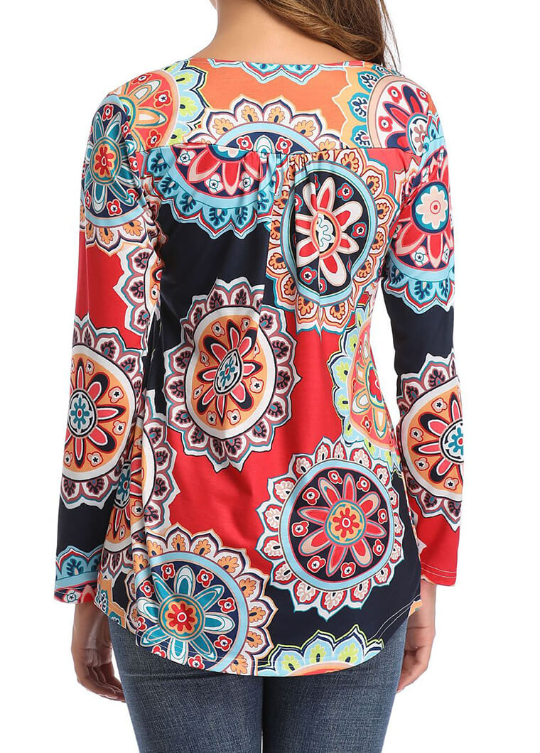 Round Neck Flower Printed Top - fashionyanclothes