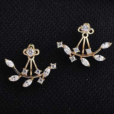 Leaf Rhinestone Decorated  Earrings - fashionyanclothes