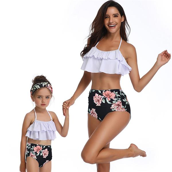 Mom & ME Ruffle Flower Printed T Swimsuit