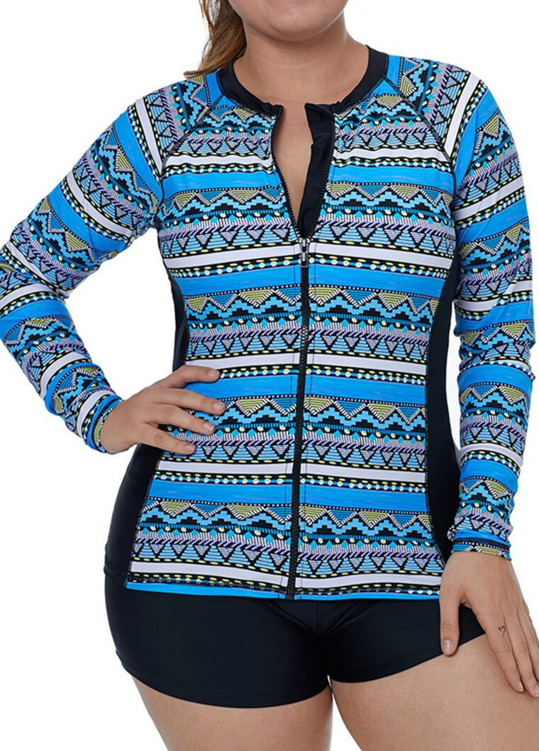 Plus Size Flower Printed Zipper Wetsuit - fashionyanclothes