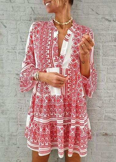 Split Neck Printed Leaf Sleeve Dress - fashionyanclothes