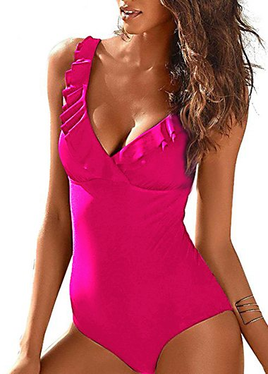 V Neck Solid Ruffle One Piece Swimwear