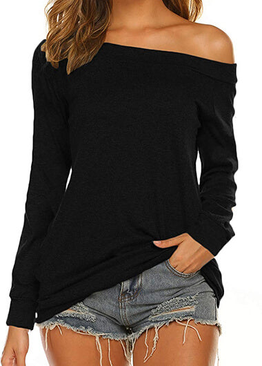 Long SleeveBoat Neck Off Shoulder Blouse - fashionyanclothes