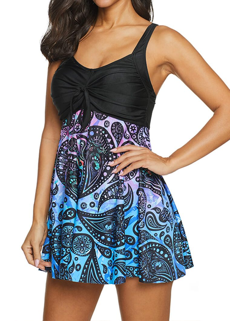 Printed Open Back Asymmetric Hem Swimdress and Panty