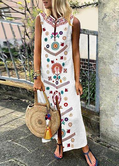 V-Neck Vintage Printed Boho Dress