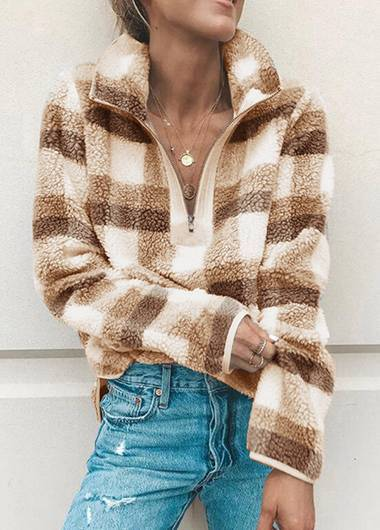 Zipper Plaid Print Turtleneck Hoodie