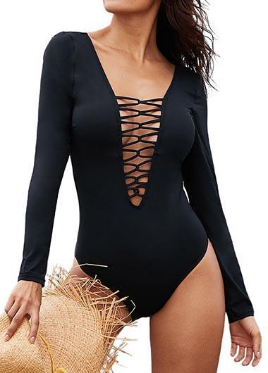 Lace Up One Piece Swimwear - chicfay