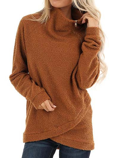 Asymmetric Hem Solid Zipper Up Sweatshirt - fashionyanclothes