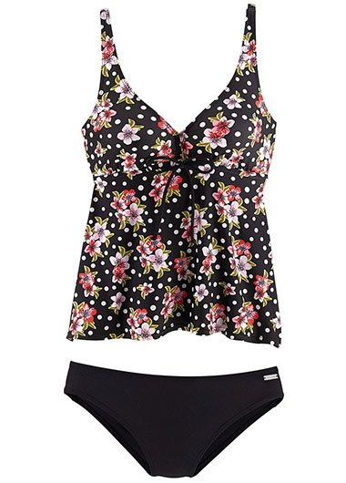 Scoop Back Printed Black Tankini Set