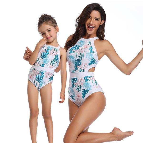Mom & ME Printed Patchwork Swimsuit - fashionyanclothes