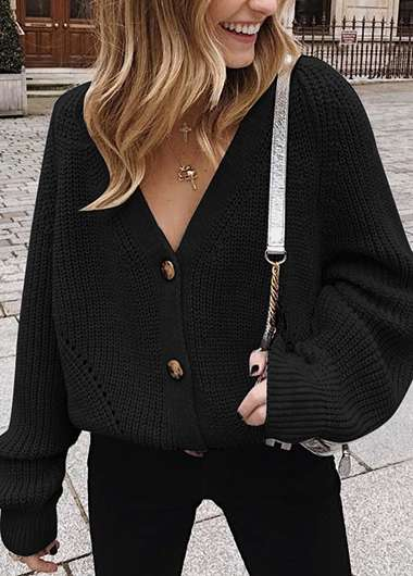 Soild Button Detail Loose Sweater