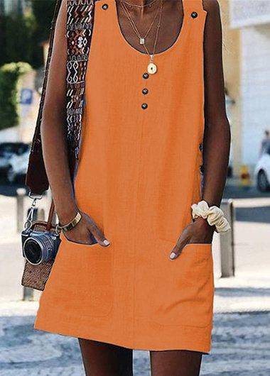 Button Up Pocket Design Dress - fashionyanclothes