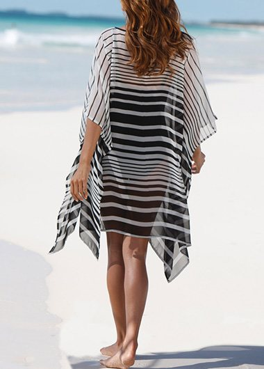 Printed Asymmetric Hem Cover Up - fashionyanclothes