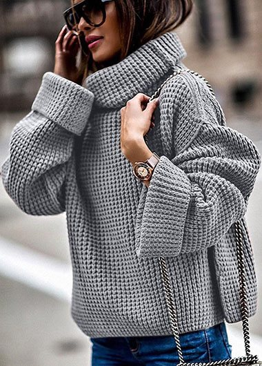 Turtleneck Solid Plus size Sweater - fashionyanclothes