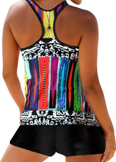 Racerback Padded Printed Tankini Top and Shorts - fashionyanclothes
