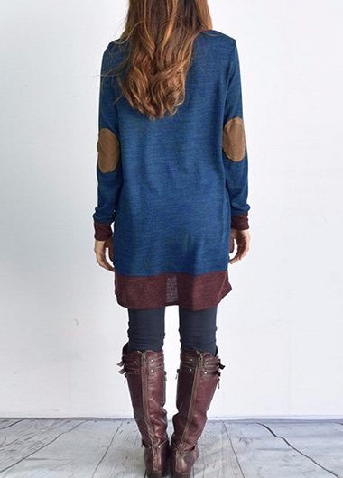 Patchwork Long Sleeve Plus Size T Shirt
