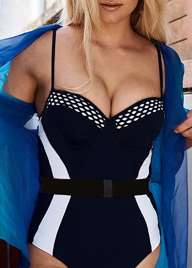 2019 Patchwork One Piece Swimwear - fashionyanclothes