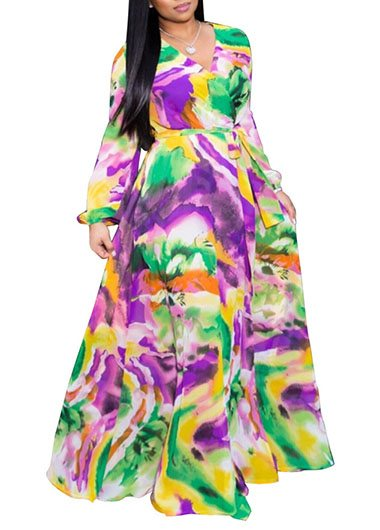 V Neck Mock Wrap Printed Belted Dress