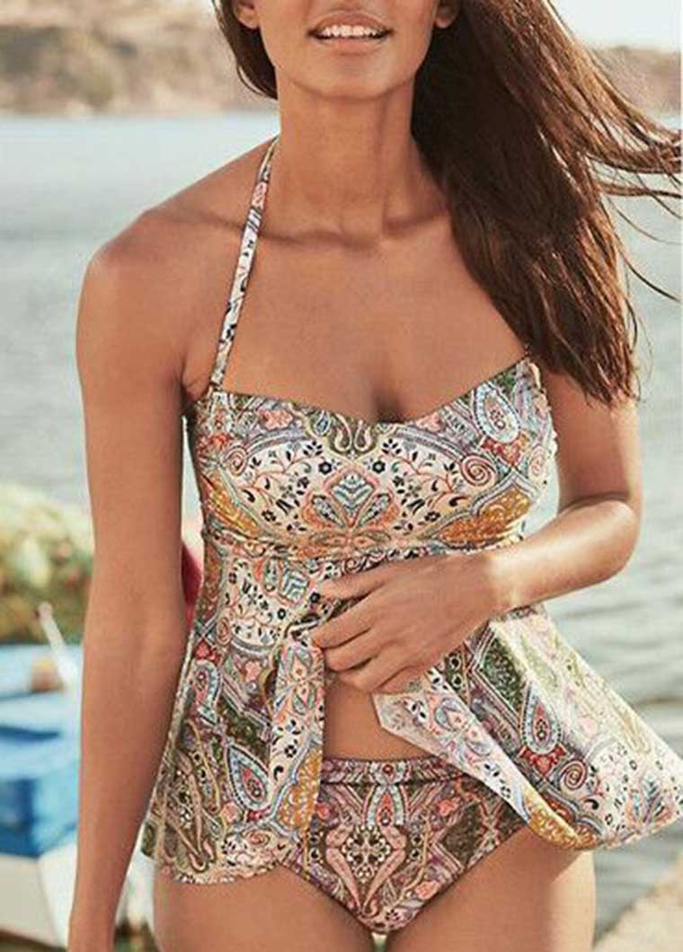 Halter Neck Tankini Top and Panty - fashionyanclothes
