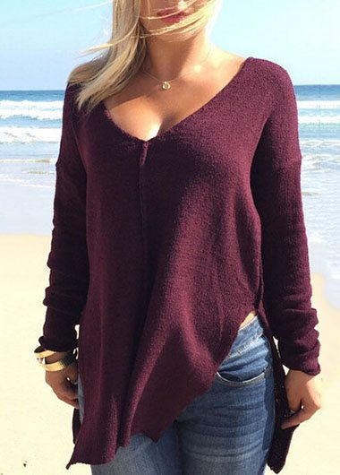 V-neck Long-sleeve Asymmetric Hem Top