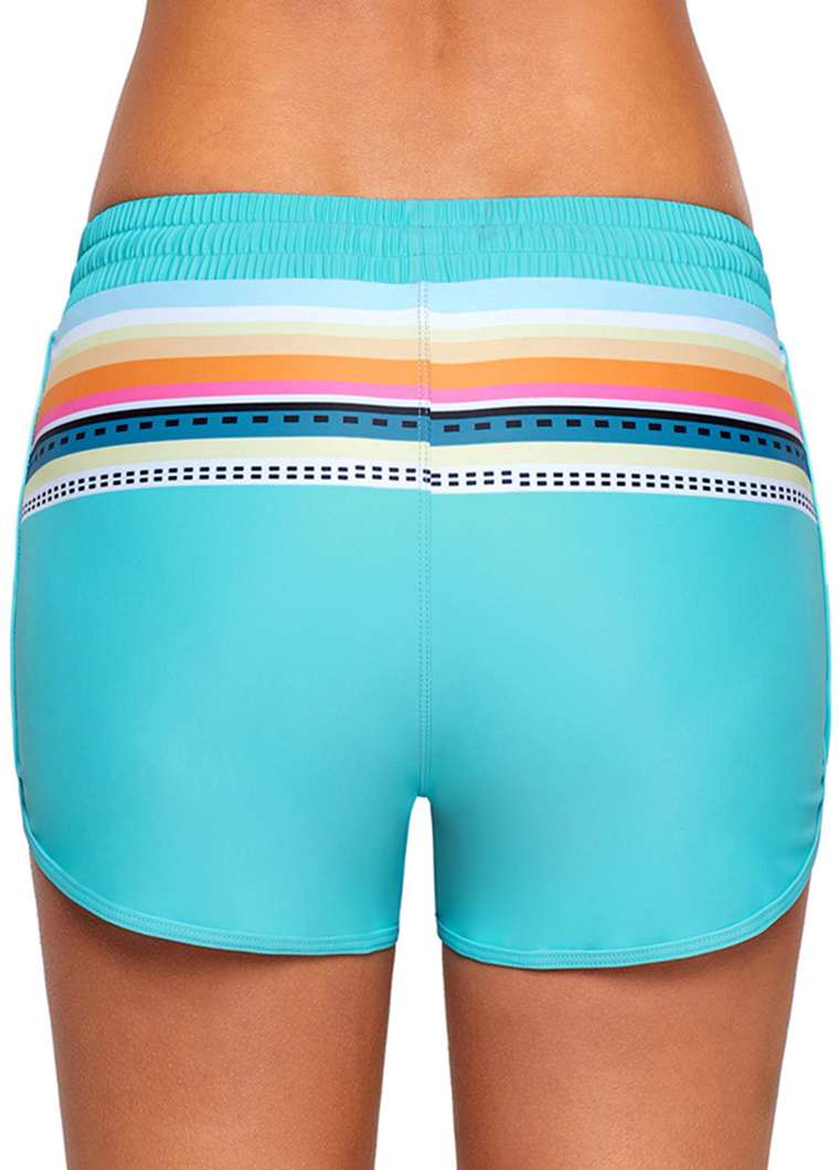 Mid Waist Pinted Blue Swimwear Shorts