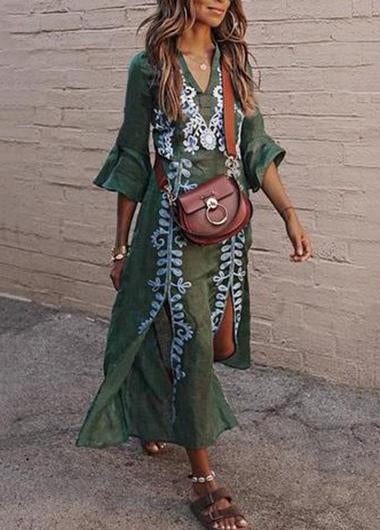 Split Floral Print Flowy Maxi Dress