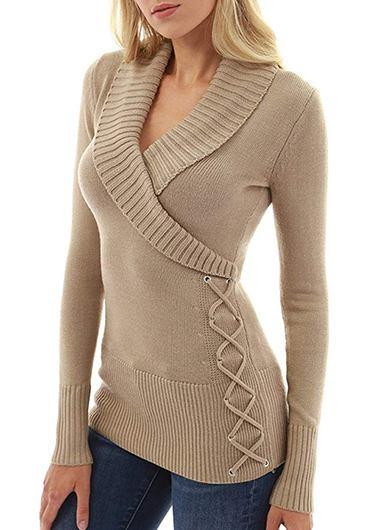 V -Neck Detail Cable Knit Khaki Sweater - fashionyanclothes