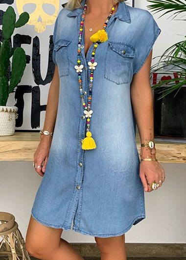 V Neck Loose Plus Size Denim Dress