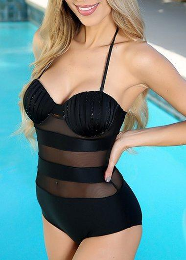 Mesh Panel Solid Black One Piece Swimsuit