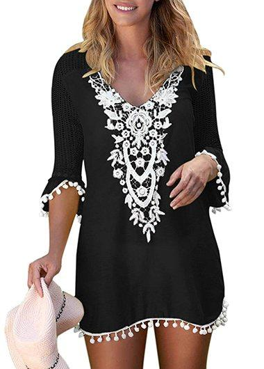 Pom Trim Lace Panel Black Cover Up - fashionyanclothes