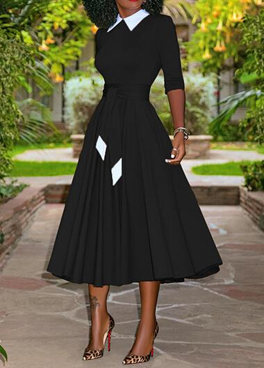 Belted Turndown Collar Long Sleeve Dress - fashionyanclothes