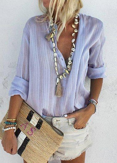 Blue Long Sleeve Button Up Blouse - fashionyanclothes