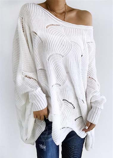 Lantern Sleeve Openwork Sweater - fashionyanclothes