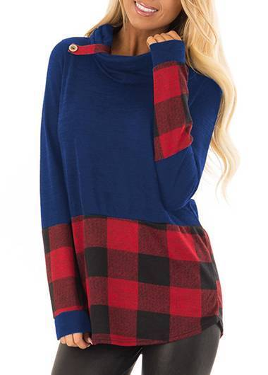 Long Sleeve Plaid Print Top - fashionyanclothes