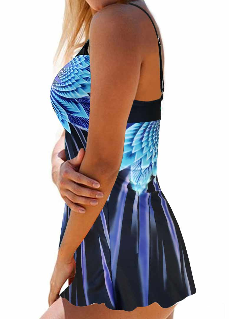 Printed Spaghetti Strap Swimdress and Panty - fashionyanclothes