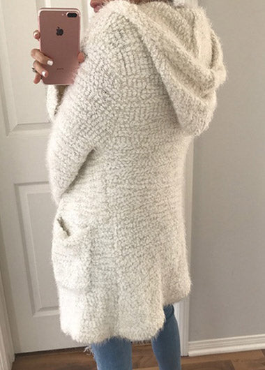 Positive and Reverse Wearing Hooded Knit Cardigan