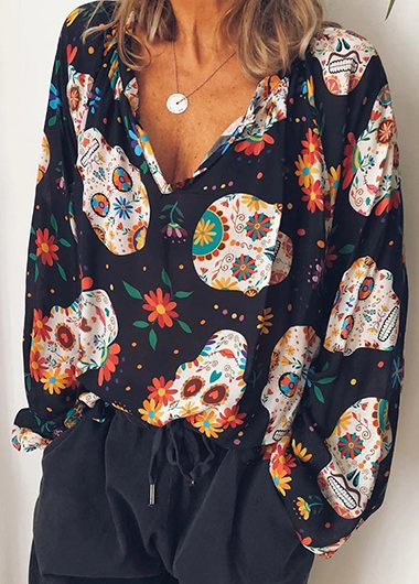 Casual V Neck Printed Long Sleeve Blouse - fashionyanclothes