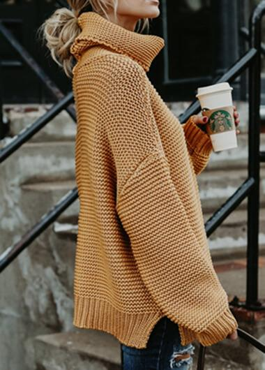 Turtleneck Solid Long Sleeve Sweater