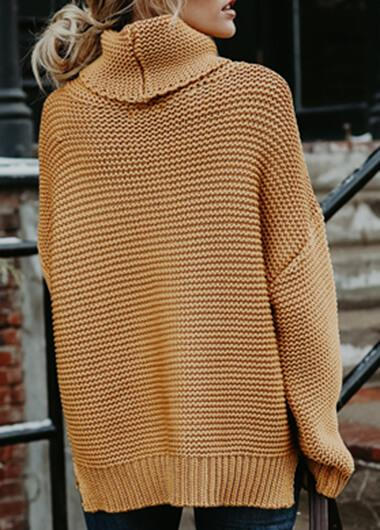 Turtleneck Solid Long Sleeve Sweater - fashionyanclothes
